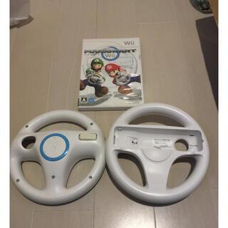 ウィー(Wii)のWii マリオカート ハンドル 2個付き(家庭用ゲームソフト)