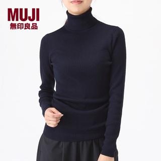 MUJI (無印良品) - 新品 MUJI✨ネイビー 首のチクチクを抑えたリブ タートルネック洗えるセーター