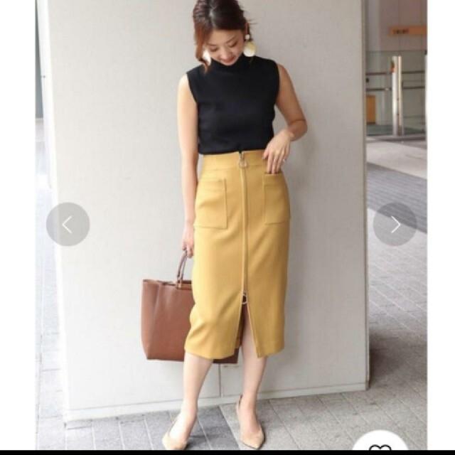 Noble(ノーブル)のNoble ダブルクロス フープジップスカート☆ レディースのスカート(ひざ丈スカート)の商品写真