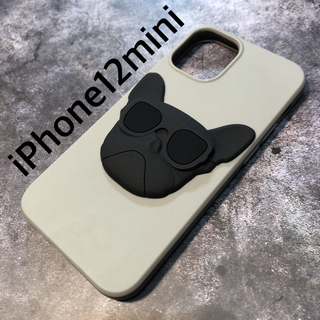 残り1つ!iPhone12miniケース★立体ブルドック グレー