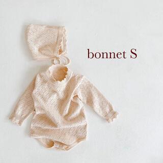 Caramel baby&child  - 透かし編みボンネット ベビーボンネット S