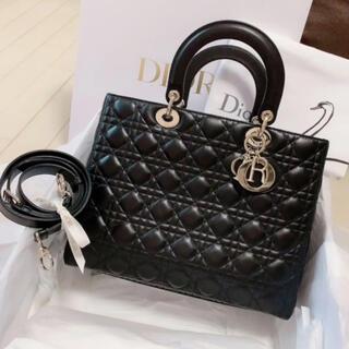 クリスチャンディオール(Christian Dior)のLADY DIOR ラージバッグ カナージュ ラムスキン (ハンドバッグ)