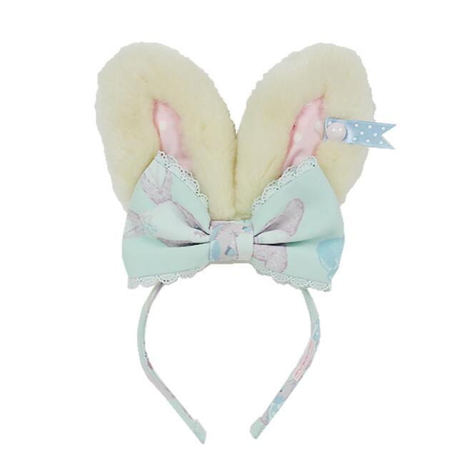 Angelic Pretty(アンジェリックプリティー)のmoco moco bunny  カチューシャ(ミント) レディースのヘアアクセサリー(カチューシャ)の商品写真