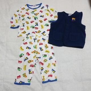 ホットビスケッツ(HOT BISCUITS)のミキハウス ホットビスケッツ 長袖 長ズボン ベスト パジャマ 80cm(パジャマ)