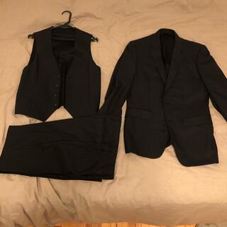 アオキ(AOKI)のMAJI AOKI ブラック ストライプ スーツ ベスト(セットアップ)