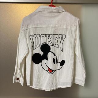 ディズニー(Disney)のミッキー 白シャツ 120センチ(Tシャツ/カットソー)
