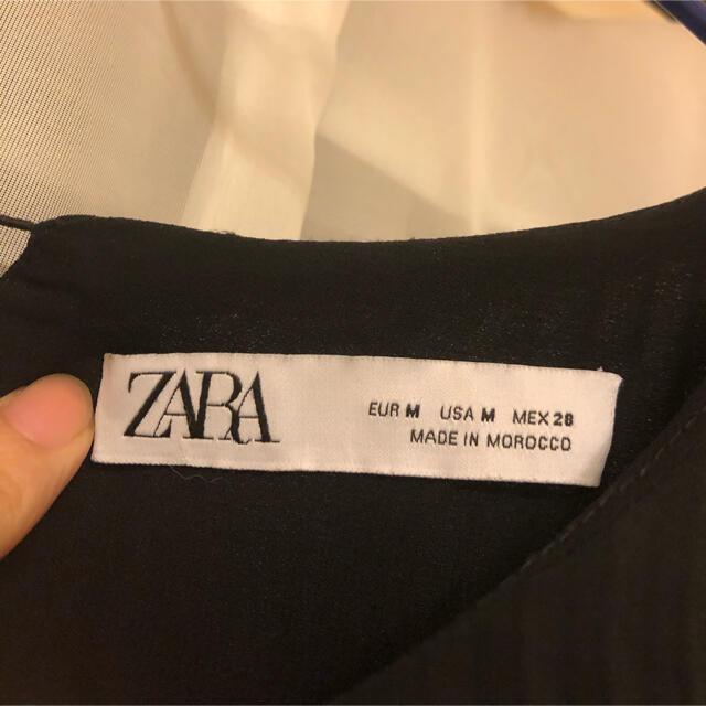 ZARA(ザラ)のZARA キモノスリーブ プリーツ ワンピース ブラック シフォン シアー レディースのワンピース(ロングワンピース/マキシワンピース)の商品写真