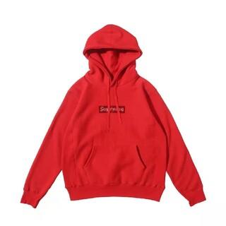シュプリーム スワロフスキー ボックスロゴ パーカー XL 赤い色(パーカー)