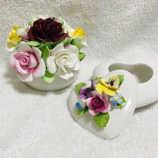 ロイヤルドルトン(Royal Doulton)のロイヤルドルトン  陶花と小物入れ 2点(置物)