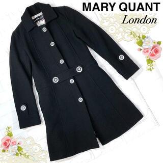 マリークワント(MARY QUANT)のMARY QUANTマリークワントロンドン(M)黒のロゴボタンコート(ロングコート)
