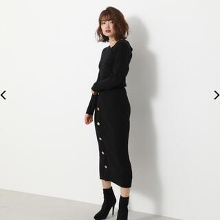 rienda - リエンダ Asymmetry N/C Button Knit OP