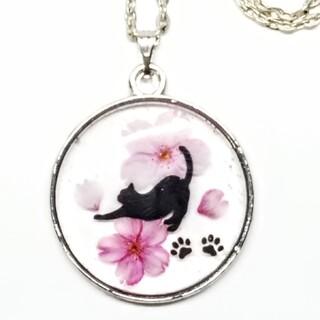 * 。゜桜と猫さんのネックレス ゜。*