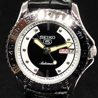 セイコー(SEIKO)の【美品】SEIKO 5/メンズ腕時計/ビンテージ/ブラック色/機械式自動巻き(腕時計(アナログ))