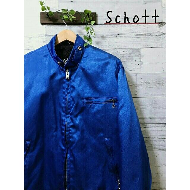 schott(ショット)の【美品】Schott  シングルライダーズ  ナイロンジャケット  メタリック メンズのジャケット/アウター(ライダースジャケット)の商品写真