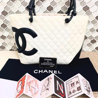 シャネル(CHANEL)の✴︎正規品 美品 CHANEL * シャネル カンボントート トートバッグ 白(トートバッグ)