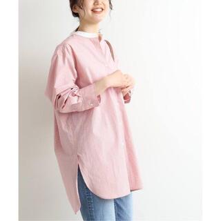 IENA - IENA ストライプ バンドカラーシャツ