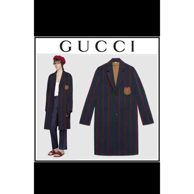 Gucci(グッチ)の【特別値引】【Gucci】2019 ストライプウールコート メンズのジャケット/アウター(チェスターコート)の商品写真