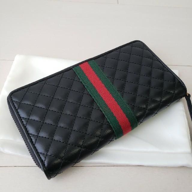 Gucci(グッチ)の新品同様【プラダ】GGマーモント ウェブライン キルティング 長財布 レディースのファッション小物(財布)の商品写真