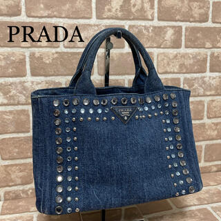 PRADA - PRADA プラダ トートバッグ カナパ ビジュー デニム 美品 人気 正規品