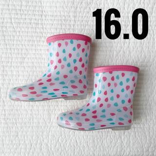 16 しずく柄 長靴 ピンク 女の子(長靴/レインシューズ)