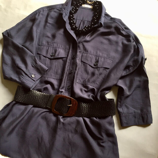 ノーリーズ(NOLLEY'S)のNOLLEY'S ノーリーズ 濃紺 ロング丈 サファリシャツ サイズ38(シャツ/ブラウス(長袖/七分))