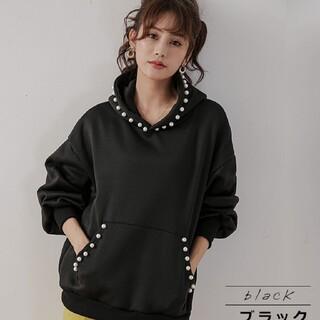 ZARA - 韓国ファッション パールスウェット パーカー トップス レディース 即日発送