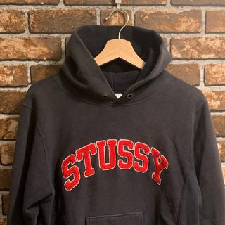 STUSSY - Stussy × Champion コラボパーカー 刺繍ロゴ リバースウェーブ