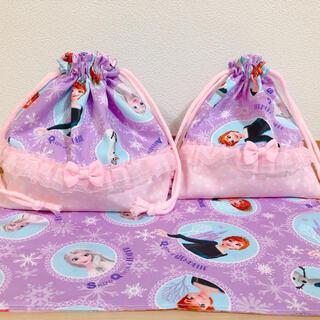 お弁当袋 コップ袋 ランチョンマット 3点セット 紫(外出用品)