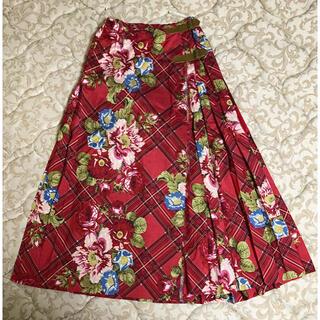 インゲボルグ(INGEBORG)のインゲボルグ 花柄 巻きスカート ロングスカート ほぼ未使用 ヴィンテージ(ロングスカート)