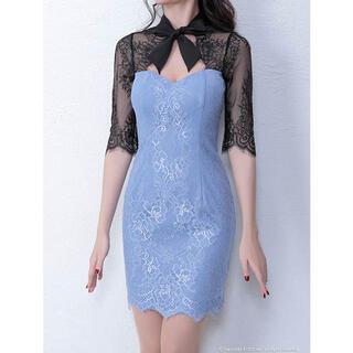an - キャバドレス an ネックリボン袖付きタイトミニドレス