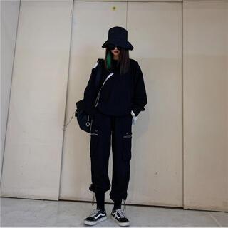 ストリート ダンス衣装 ヒップホップ カーゴパンツ ブラック L ワイドパンツ(ワークパンツ/カーゴパンツ)