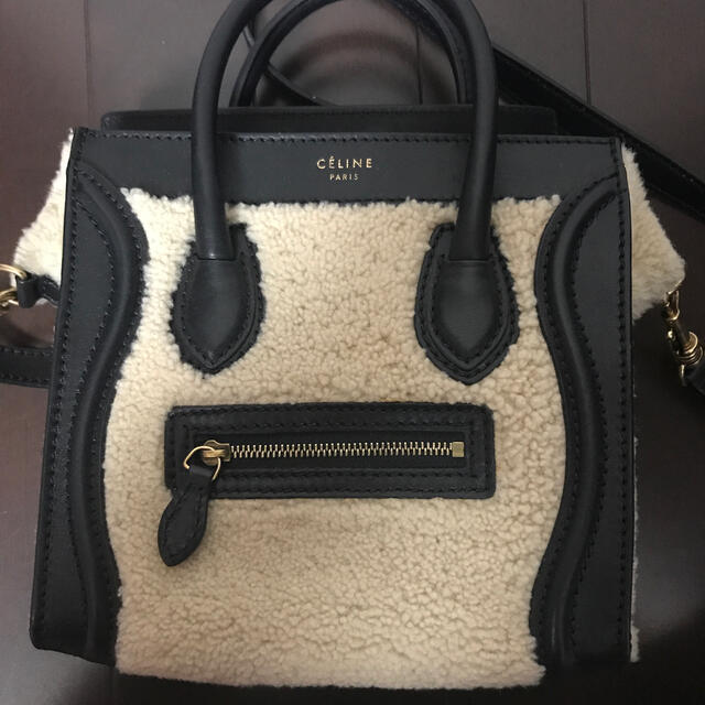 celine(セリーヌ)のCELINE ラゲージ ナノ ムートン×レザー ハンドバッグ ショルダーバッグ レディースのバッグ(ハンドバッグ)の商品写真