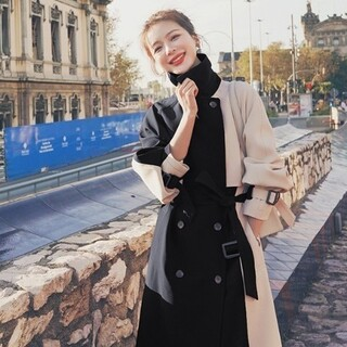 Ameri VINTAGE - 韓国風 配色トレンドバックスリットトレンチコート新品