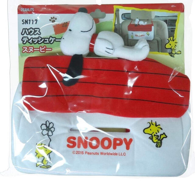 SNOOPY(スヌーピー)のスヌーピー ティッシュケース ハウス (SN117)新品 自動車/バイクの自動車(車内アクセサリ)の商品写真