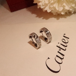Cartier - 新品 Cartier カルティエ LOVE イヤリング ダイヤモンド 18Kホワ