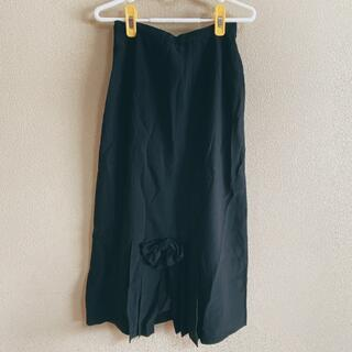 インゲボルグ(INGEBORG)のINGEBORG★ロングスカート★りぼん★裾プリーツ★黒(ロングスカート)