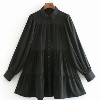 【匿名配送♪】フレア ワンピース ブラウス シャツ ブラック ZARA 黒 M