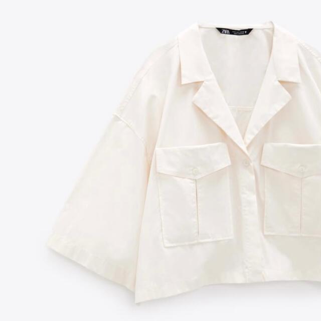 ZARA(ザラ)のZARA M/オーバーサイズ シャツ オーガニックコットン100% 春物 レディースのトップス(Tシャツ(長袖/七分))の商品写真