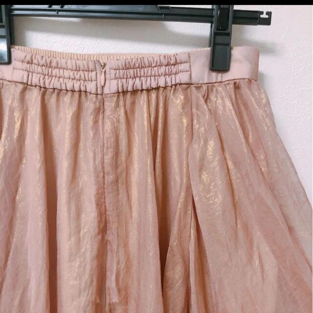 Lily Brown(リリーブラウン)のリリーブラウン  光沢シースルーフレアスカート ピンク レディースのスカート(ロングスカート)の商品写真