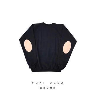 yuki ueda エルボーパッチ レザー スウェット