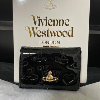 Vivienne Westwood - ヴィヴィアン 財布 三つ折り エナメル ブラック Vivienne 黒