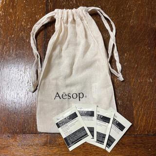 イソップ(Aesop)の【新品未使用】Aesop イソップ 巾着と、フェイシャルオイル、ジェルセット(サンプル/トライアルキット)