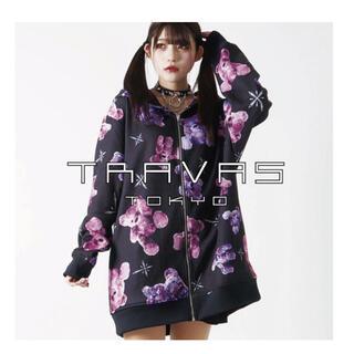 TRAVAS TOKYO クマ総柄 パーカー 黒