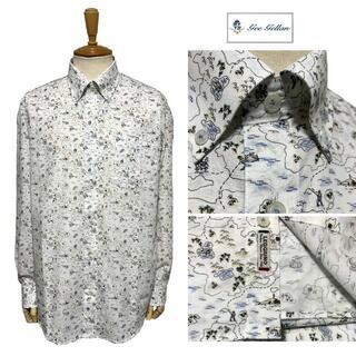 ジーゲラン(GEEGELLAN)のジーゲラン リゾートプリント 長袖ボタンダウンシャツ 白 イタリア生地使用 M(シャツ)