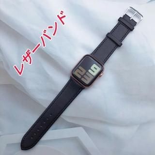 Apple Watch レザー バンド 42/44mm ブラック(レザーベルト)