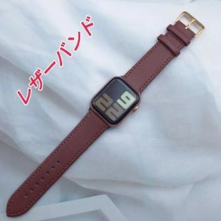 Apple Watch レザー バンド 42/44mm ブラウン(レザーベルト)