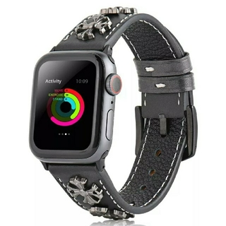 Apple Watch レザー スタッズ バンド 42/44mm ブラック(レザーベルト)