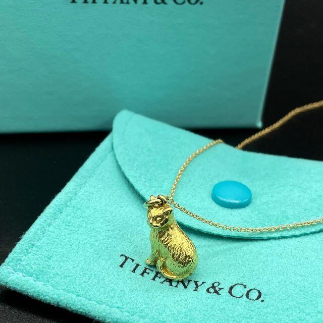 Tiffany & Co.(ティファニー)の極希少 美品 ティファニー イエロー ゴールド キャット ネックレス QP42 レディースのアクセサリー(ネックレス)の商品写真