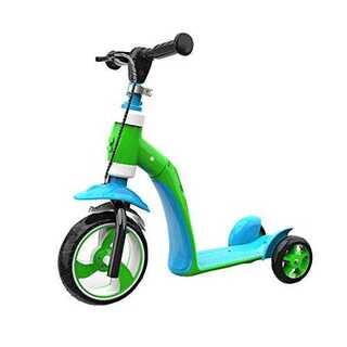 グリーンxブルーキックボード キックバイク 三輪車 2in1 ペダルなし自転車 (三輪車/乗り物)