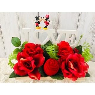ディズニー(Disney)のミッキー ミニー フェイクグリーン ハンドメイド リングケース(インテリア雑貨)